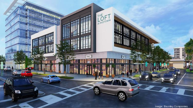 A rendering shows the exterior of The Loft at Midtown, where The Hall at Midtown has leased 8,000 square feet on the ground level.