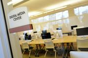 The digital media center located on the third floor of the new  Sullivan Center for Innovation and Leadership is set up with flat screen Apple iMac computers.
