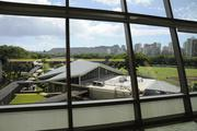 The view of Diamond Head and some of the Iolani School campus and football field can be seen from the third floor of the new Sullivan Center for Innovation and Leadership.