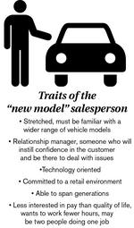 The 'new model' car salesperson