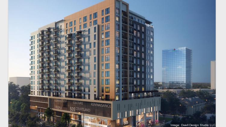 The new apartment tower has a $55 million construction loan and forms a wave of investment planned for the area south of North Avenue.