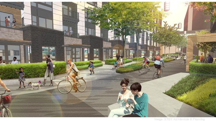 A landscaped public mews will separate the two planned residential buildings at 8787 Georgia Ave. in Silver Spring.