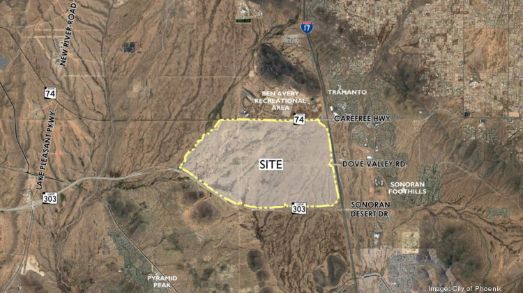 An aerial photo shows the 3,500 acres the city of Phoenix is planning to rezone for an employment corridor.
