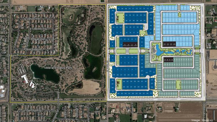 Scottsdale-based Maracay is building homes to the east of Veterans Oasis Park in Gilbert and to the north of the park in its Canopy community in Chandler.