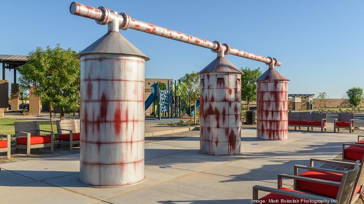 These grain silos in the Waterston park area are replicas of the originals that sat on what was once a dairy farm before Maracay began building homes on the land.