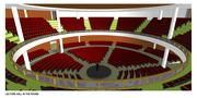 A theater in the round is planned for corporate meetings.