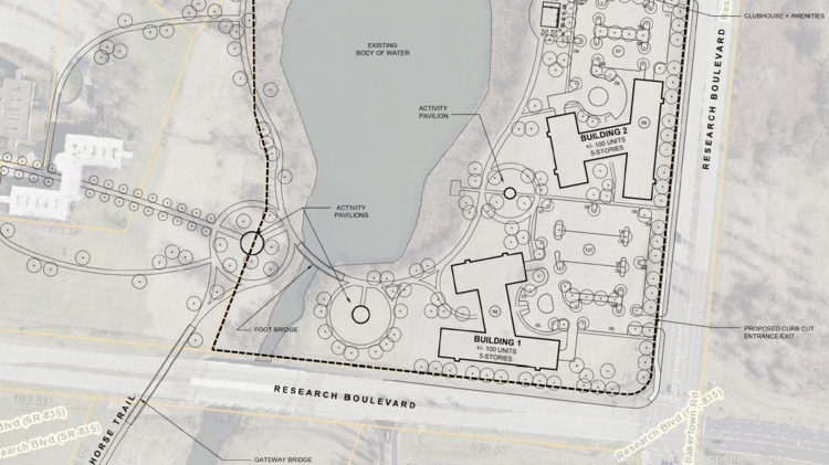 "A closer look at site maps detailing the proposed multifamily development, with the ""gateway bridge"" pictured in the lower left corner."