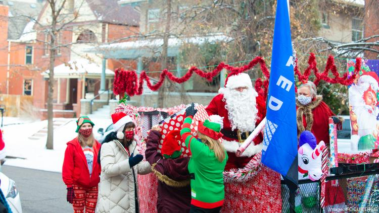The Santa float that visited Warren Village courtesy of United Airlines