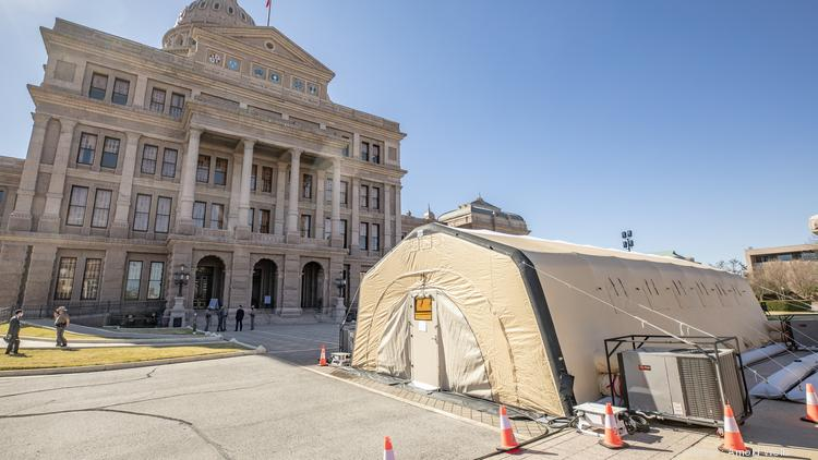 A Covid-19 testing tent outside the Texas State Capitol entrance on Jan. 4. Senators and their staff will be tested for the coronavirus, Lt. Gov. Dan Patrick said, as well as guests who attend the opening ceremony Jan. 12.
