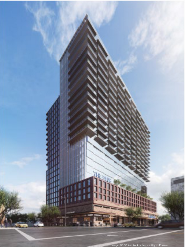 An artist's rendering shows the planned mixed-use development called The Blue, which is planned for the warehouse district in downtown.