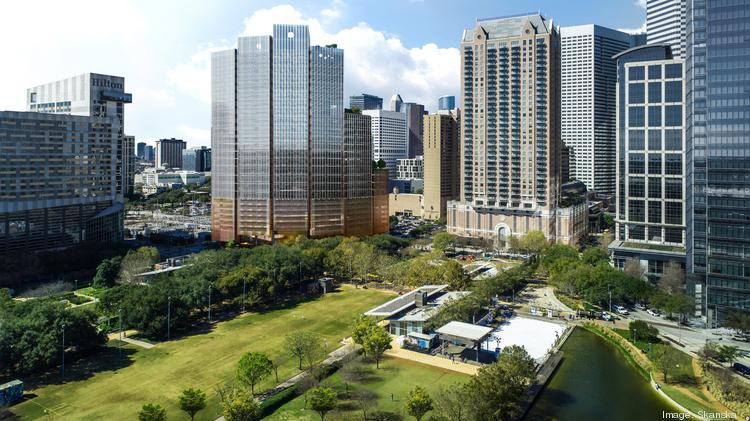 Skanska is planning a 28-story office building adjacent to Discovery Green in downtown Houston.