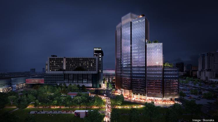 1550 on the Green will be adjacent to Discovery Green and the Hilton Americas hotel. It will wrap around an Embassy Suites hotel.