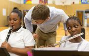 Students in the OrchKids orchestra and ensemble programs rehearse at Lockerman-Bundy Elementary School on Oct. 8.