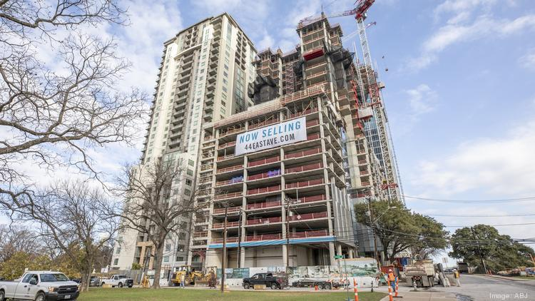 44 East Ave., the 49-story condo tower Intracorp is developing off Rainey Street. Units could be ready for move-in during the second quarter of 2022.
