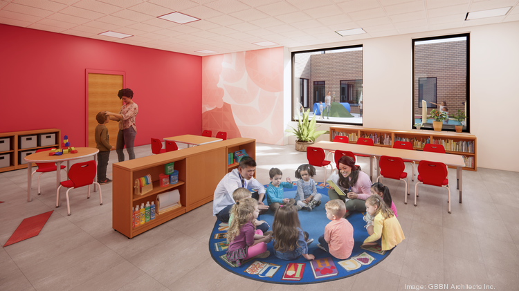 Classrooms that support the JCC's early learning center in the education wing of the building.
