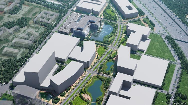 The 53-acre life sciences district known as Levit Green will include nine office buildings built around a series of man-made lakes.