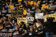 Many of the Shocker faithful brought signs to celebrate at Sunday's event to welcome the Wichita State basketball teams home from their NCAA Tournament appearances.