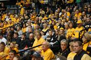 Shocker fans filled about a third of Charles Koch Arena Sunday for an event to welcome back the Wichita State University men's and women's basketball teams from their NCAA tournament appearances.