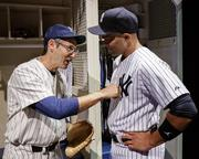 "Richard Topol and Christopher Jackson star as Yogi Berra and Derek Jeter in ""Bronx Bombers"" at Primary Stages' The Duke on 42nd St. in New York. The play was written and directed by Eric Simonson."