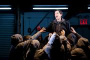 "Harriet Walter, center, stars as Brutus in ""Julius Caesar"" at Brooklyn's St. Ann's Warehouse in New York."