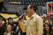 Shocker Head Coach Gregg Marshall addresses the fans at the Shocker welcome home rally.