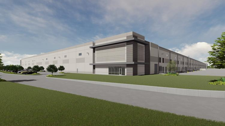 Rendering of the Forth Worth Logistics Hub, a 1.2 million-square-foot business park that Bob Moore Construction is building on 75 acres South of I-20 near I-35W.