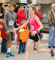 Elizabeth Perry, 36, of Pittsburgh, was the winner of the women's marathon. She ran the race in 2:57:57.
