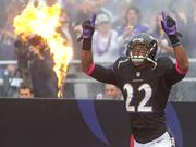 Baltimore Ravens cornerback Jimmy Smith is introduced to the crowd at M&T Bank Stadium.