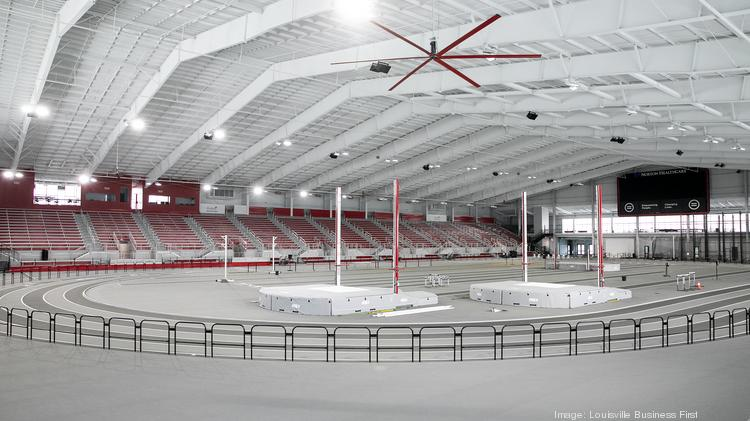Equipment and runways for pole vault, high jump, long jump, and triple jump competitions are located within the infield area of the indoor track.