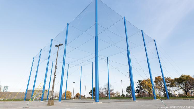 Blue poles with fencing