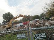 The former KFC restaurant was demolished Monday, and work has continued at the site.