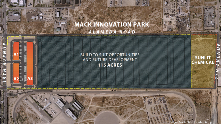 An aerial site plan shows the Mack Innovation Park in north Phoenix, including the 17 acres Mack sold to Sunlit Chemical, the first supplier to Taiwan Semiconductor Manufacturing Co. to commit to a site in Phoenix.