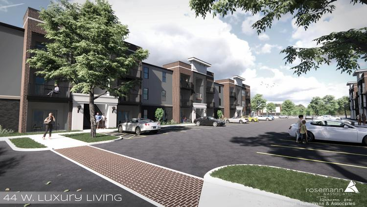 A rendering of 44 West Luxury Living, a 204-unit multifamily development planned for Valley Park.