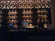 The antique glasswork bar, serving up mixologist Gaston Martinez's cocktails.