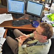 AACOG Environmental Manager Steven Smeltzer examines air-quality data for the San Antonio region.
