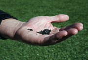 Jeld-Wen Field's turf is placed upon a surface made from shreds of 40,000 cryogenically treated rubber tires. The 13-layer surface consists of the tiny shreds as well as rounded sand.