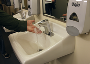 Jeld-Wen Field has added low-flow motion-activated faucets to its restrooms. Soap is distributed in foam form, which saves on materials and releases fewer materials back into the wastewater stream. The restroom also features motion-sensor LED lighting.