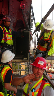 Crew working to repair the Mathews.