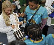 Jacksonville Jaguars held a football/cheerleader coaching clinic.