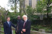 From left to right, The Georgetown Co. President Adam Flatto, architect David Adjaye, and The Levy Group Principal Richard Levy have spent the past two years coming up with a plan to redevelop the World War II-era West Heating Plant.