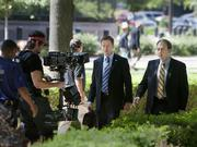"""Damian Lewis (as Nicholas """"Nick"""" Brody) films a scene from Homeland on location in North Carolina."""