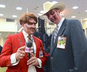 "Chris Musee as a zombie Ron Burgandy and Chris Caines as a zombie Champion ""Champ"" Kind from Anchorman: The Legend of Ron Burgandy. Stay classy Orlando."