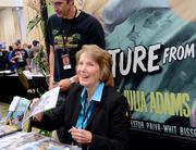 "Actress Julia Adams, one of the stars of the Creature from the Black Lagoon, was on hand signing autographs and posing for photos. Adam's Spooky Empire appearance was part of a tour supporting her new book ""The Lucky Southern Star, Reflections form the Black Lagoon."""