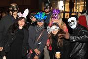 Groups of costumed attendees.