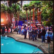 The Sausagefest crowd enjoys poolside festivities.