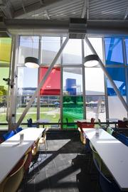 Googlers can gaze outside through this stained glass-effect window.