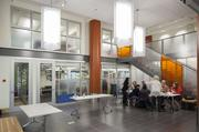 Anne Philips Architecture designed the renovation of the building which included a new interior.