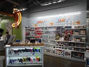The new concept store features words like play and build where shoppers can find products specific to their activity.