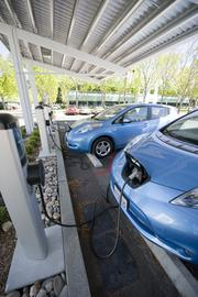Complimentary juice flows all day long at the Googleplex's electric car recharging station.