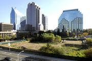 Developer John Saca had proposed building twin residential towers and a hotel on this empty lot at 301 Capitol Mall, but the project never got off the ground after its financing fell through. The property is now owned by CalPERS.